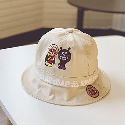 夏のアンパンマンバケツの帽子子供のための屋外の刺繍キャップ旅行の日焼け止めの帽子 (Color : Beige, Size : 48 52CM)