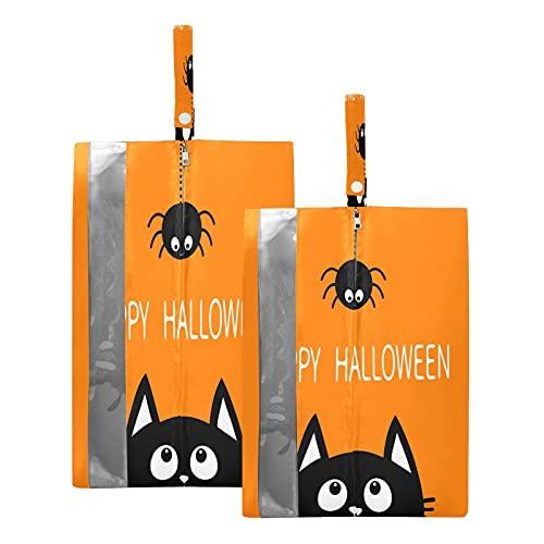 F17 - Bolsas de viaje para zapatos de gato de Halloween, bolsa de almacenamiento, impermeable, portátil, ligera, bolsa de almacenamiento para hombres y mujeres, 2 unidades