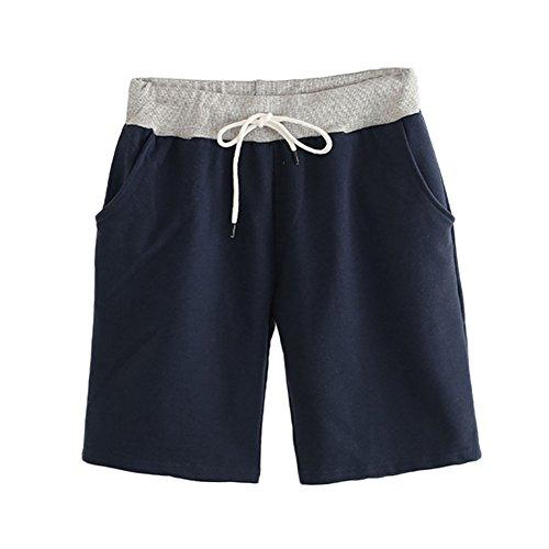 Mujeres Casual Cintura Elástica Salvaje Pantalones Cortos con Cordón Bermuda Cortos Deporte Shorts Color Sólido Armada 2XL