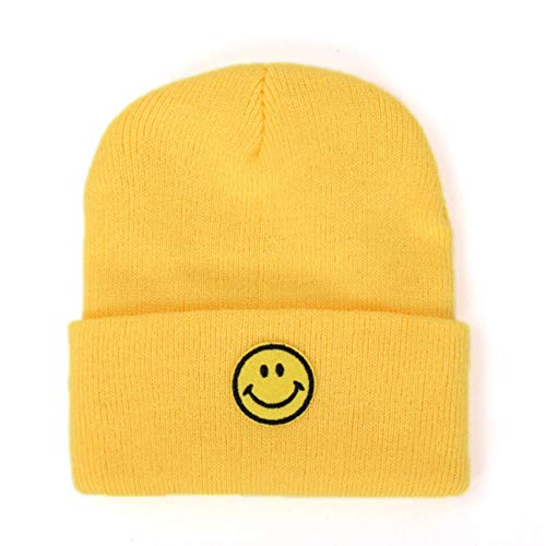 Empty Unisex Winter Short Hat casual smiley patroon losse gebreide winddichte koude comfort zachte reis warme muts