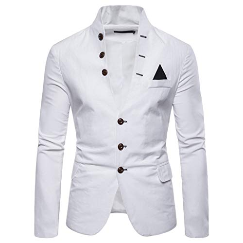 serliy😛Herren Einfarbiger Blazer Business Style Herrenanzüge Einfarbig Langarm Freizeitanzüge Mantel mit einem Knopf und Taschen Design