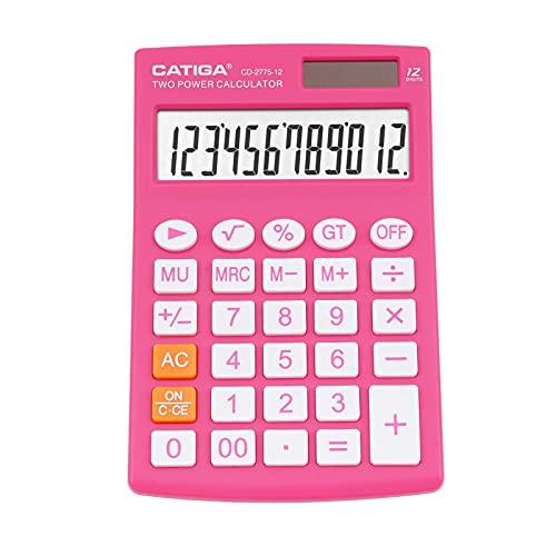CATIGA calcolatrice da tavolo con 12 cifre screen display lcd, casa o l'ufficio, facile da usare con chiare funzioni di visualizzazione/memoria, cd-2775 (rosa)