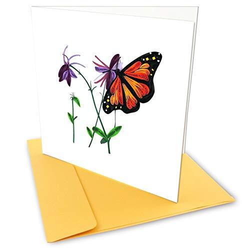 Monarch Butterfly Quilling Grußkarten, 6x 6mit Umschlag. Jeden Anlass. Innen blanko. Handarbeit. Passend für Einrahmung.