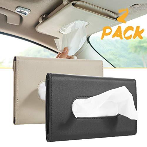 2 Pack Car Tissue Holder, Sun Visor Napkin Holder, Tissue Box Holder, PU Leather Tissue Box, Backseat Tissue Purse Case Holder for Car (Black, Beige)