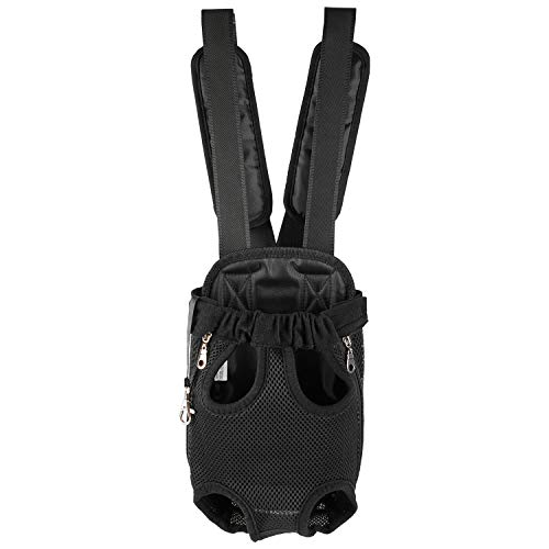 Dhohoo Fenley Pet Carrier Backpack, Small Dogs and Cats Puppy Legs Out Front-Facing Carrier with Adjustable Padded Strap, Hands Free for Outdoor Walking, Hiking, Bike and Motorcycle-L Black