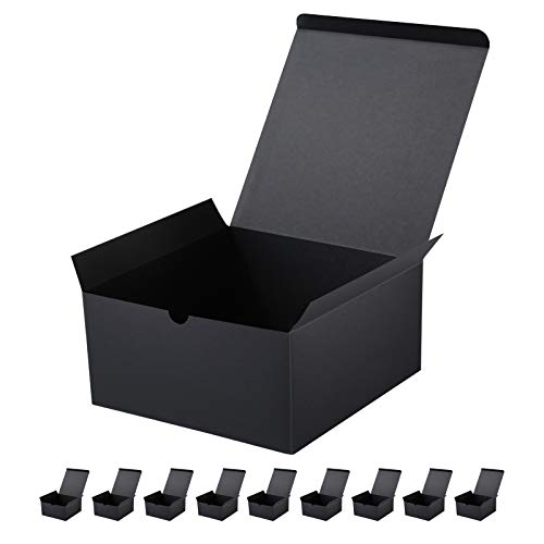 JINMING 10 Gift Boxes 8x8x4 Inches Gift Boxes with Lids, Matte Black...