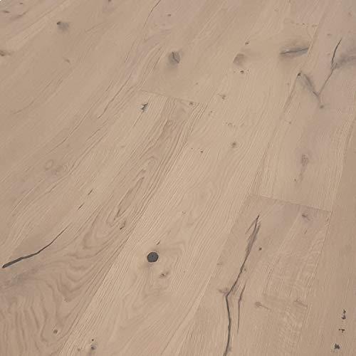TRECOR® Landhausdiele Eiche Country LIFE - rustikal sortiert - Länge: 1900 mm, Breite: 190 mm, Stärke: 14 mm, Nutzschicht; 3 mm, Oberfläche: gebürstet & leicht weiß endgeölt