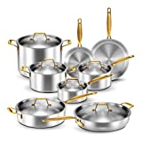 Legend Stainless Steel 5-Ply Copper Core | 14-Piece Cookware Set | Professional Home Chef Grade Clad...