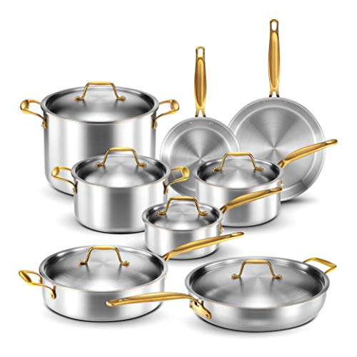 Legend Stainless Steel 5-Ply Copper Core | 14-Piece Cookware Set | Professional Home Chef Grade Clad Pots and Pans Sets | All Surface, Induction & Oven Safe | Premium Cooking Gifts for Men & Women
