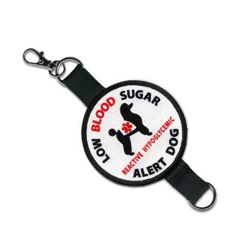 SERVICE DOG Low Blood Sugar Alert Reactive Hypoglycemic 2 in 1 Double Sided Patch Clip Leash Wrap