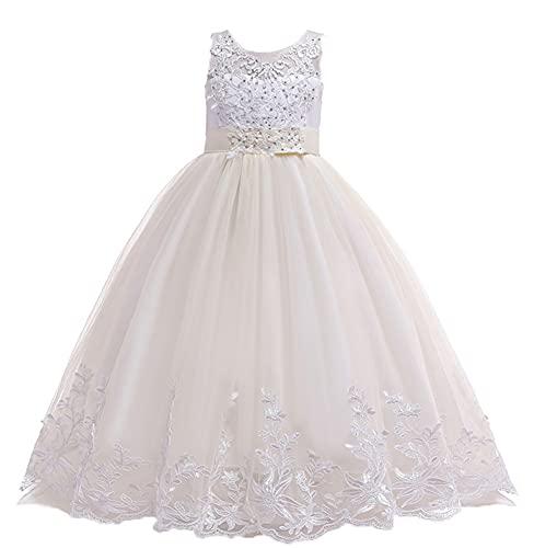 WAWALI Vestidos de fiesta de la boda de noche de la niña de las flores traje largo princesa niños dama de honor vestido de las niñas, champán, 6-7 Años