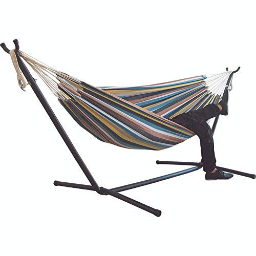 Portable Canvas Hammock ,Double Cotton Leisure Comfortable Hammock For Outdoor Travel Beach Backyard Etc(Not Include Shelves) (one)