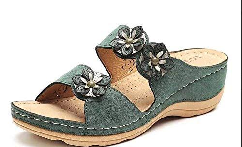 Sandalias de tacón de cuña baja con puntera abierta, sandalias de tacón con punta abierta, sandalias de flores y pantuflas de color verde_39, sandalias con puntera abierta para mujer fangkai77
