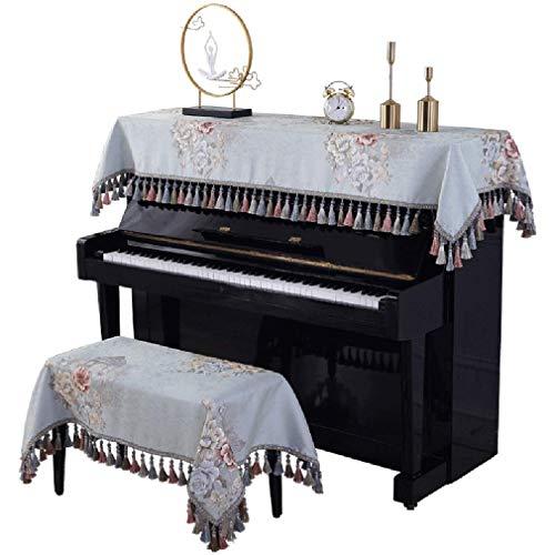 ZYYH Cubierta de Piano Cubierta de Tela de Estilo Europeo Cubierta de Polvo Media Cubierta Cubierta de Taburete Cubierta de Tela Toalla Beige 88 Teclas