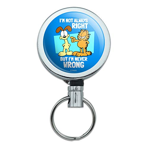 Garfield and Odie I'm Never Wrong Heavy Duty Metal Retractable Reel ID Badge Key Card Tag Holder with Belt Clip