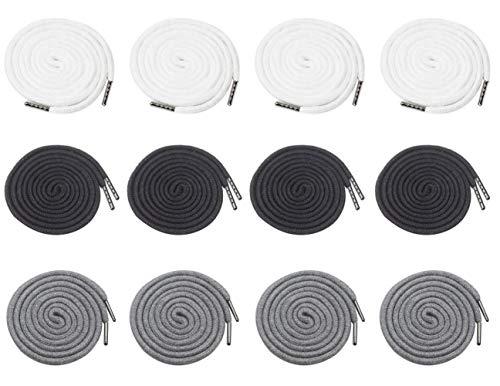 Lot de 12 cordons de serrage de rechange de 13 cm avec tête en métal pour pantalons, shorts, vestes, manteaux (noir, blanc, gris)