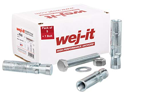 Wej-It PD58 Internally Threaded Drop-In Anchor, Carbon Steel, Zinc Plated Finish, 7/8