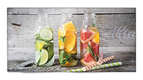 Glasvision | Küchenrückwand aus Glas | Spritzschutz | Memoboard | Herdabdeckplatte (80 x 40 cm, Fruity Lemonade)