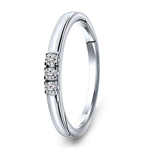 Miore Jewellery Women 0.09 Ct Diamond Trilogy Engagement Ring White Gold 9 Kt/375 Gold