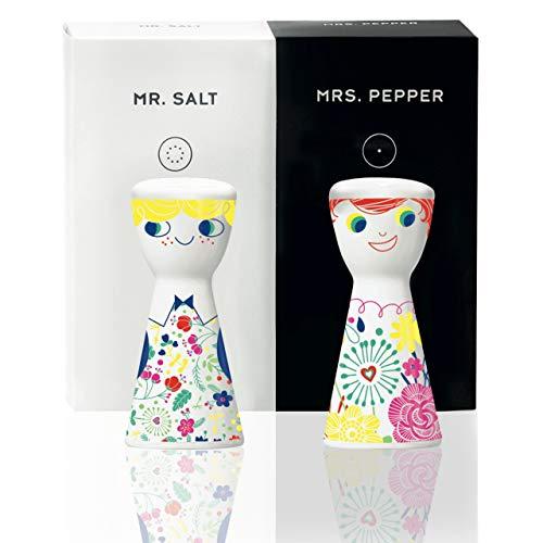 RITZENHOFF Mr. Salt & Mrs. Pepper Salz- und Pfefferstreuer von Véronique Jacquart, aus Porzellan, mit trendigen Motiven