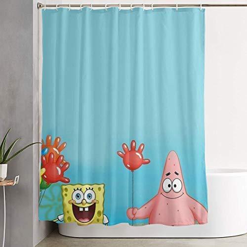 ChenZhuang Lustiger Stoff-Duschvorhang Spongebob & Seine Fre&e wasserdichtes Badezimmer-Dekor mit Haken 60 x 72 Zoll