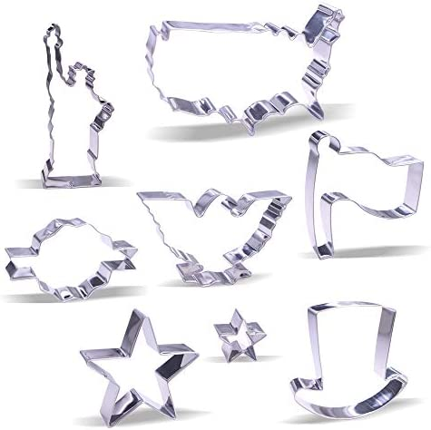 4th of July Cookie Cutter Set 8 Piece Stainless Steel product image