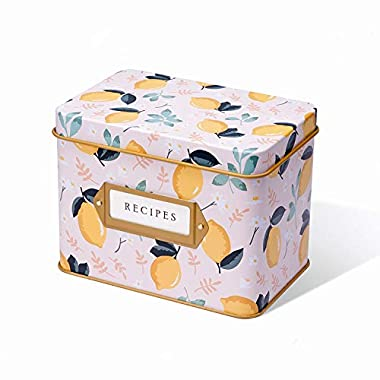 Jot & Mark Recipe Card Complete Gift Box | Decorative Tin Box, Recipe Cards, Index Dividers (14 dividers, 50 4  x 6  cards, 1 box)