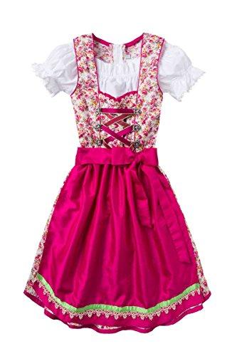 Isar-Trachten Moser Trachten Baumwolle Kinderdirndl Creme geblümt pink 006425, 3-teilig inklusive Dirndlbluse, Größe 158