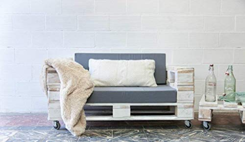 1 x SOFÁ con Ruedas para Interior & Exterior de 3 Plazas - Juego & Mueble de Terraza & Patio & Jardín hecho con Palets de Madera Reciclados (NO incluye esponja y funda) Conjunto Muebles (Blanco)