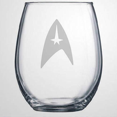 Star Trek Glass Trekkie - Copa de vino sin tallo, vaso de whisky grabado, perfecto para padre, madre, niño o novia, amiga