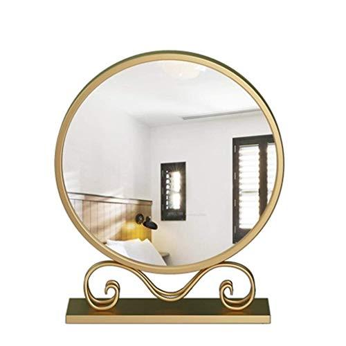 TTms Espejo Maquillaje Vestido Espejo Grande Espejo de Maquillaje, Mesa de tocador Moderno Belleza Espejo cosmético Metal Enmarcado Espejo Independiente Espejo cosmético con Soporte de Belleza Espejo