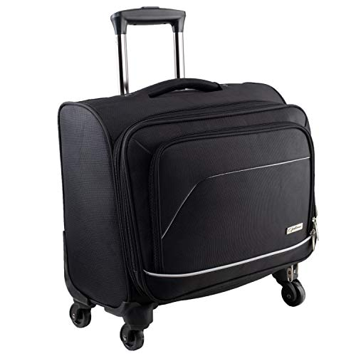 OPTIMA Polyester 27.9 cm Black 4 Wheel Cabin Trolley Luggage