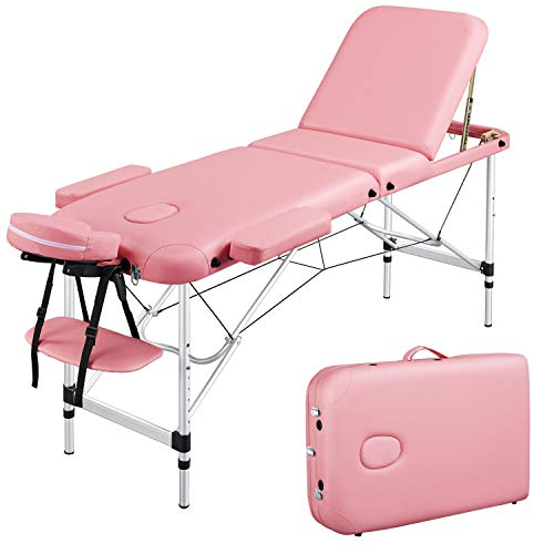 Yaheetech Aluminum Fold Up Massage Spa Bed Facial Tattoo Salon Bed 3 Folding Massage Table Pink