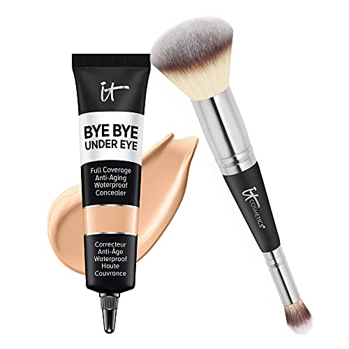 IT Cosmetics Heavenly Luxe Complexion Perfection Brush #7 + Supersize Bye Bye Under Eye (14.5 Light Buff) - Full-Coverage, Anti-Aging, Waterproof Concealer - 1 fl oz