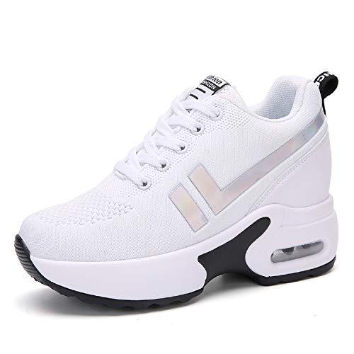 AONEGOLD Zapatillas de Deportivas Zapatos cuña Mujer Running Sneakers Interior Zapatos Casual Negro Blanco Negro Rojo (Blanco,38 EU)