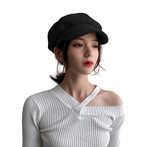 TAGVO AYPOW Zeitungsjunge Wolle Baskenmütze Mütze Hut, Herbst Winter Französisch Paris Stil Mode Einstellbare Gatsby Wolle Mützen Baskenmütze für Frauen (Schwarz)