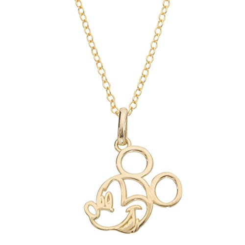 Disney Jewelry Mickey or Minnie Mouse 14k Yellow Gold Cutout Silhouette Pendant Necklace, 18