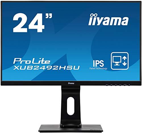iiyama ProLite XUB2492HSU-B1 60,5cm (24 Zoll) IPS LED-Monitor Full-HD (VGA, HDMI, DisplayPort, USB2.0, Ultra-Slim-Line, Höhenverstellung, Pivot) schwarz