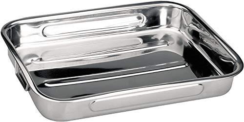 Space Home - Teglie da Forno con Rivestimento Antiaderente - Lasagnera - Rostiera Rettangolare in Acciaio Inox - 30 x 20 cm