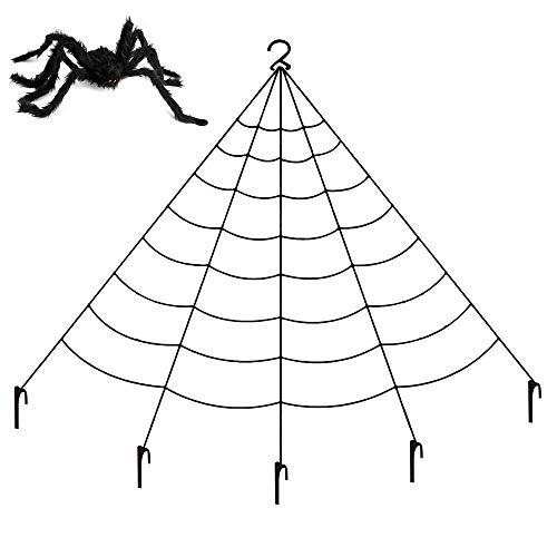 Jimmar Spinnennetz Halloween-Dekorationen, dreieckiges riesiges Halloween-Dekor Spinnennetz für Indoor Outdoor Haunted House-Themenpartys mit schwarzer Spinne