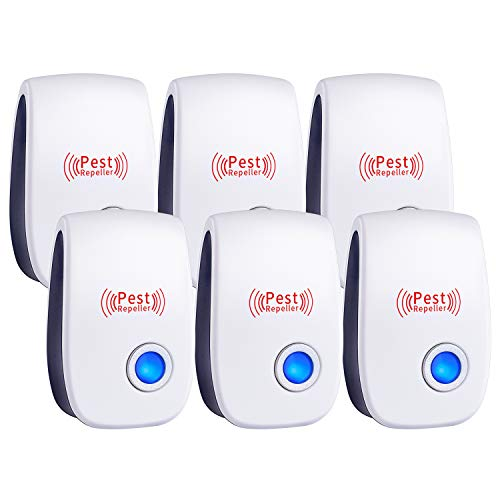 WahooArt Ultrasonic Pest Repeller 6 Pack, 2020 Upgraded Electronic Pest Repellent Plug in Indoor Pest Control for Insects, Mosquito, Mouse, Cockroaches, Rats, Bug, Spider, Ant, Human and Pet Safe