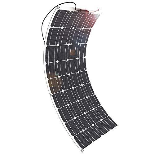 GIARIDE 100W 18V 12V Solarmodul Solarpanel Monokristallin Solarzelle Photovoltaik Solarladegerät Solaranlage Flexibel mit Ladekabel für Wohnmobil, Auto, Boot 12V Batterien