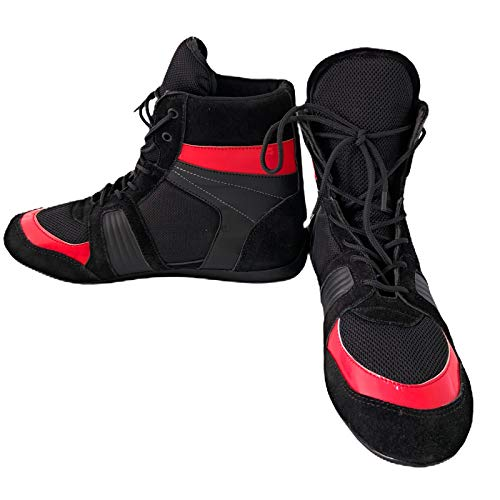 Unbranded Premium Bottes de boxe/Chaussures de gym/entraînement Unisexe Noir/Rouge Taille 42 44