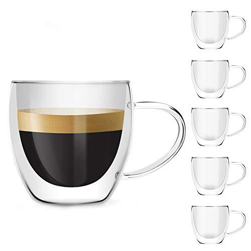 [6-pack, 250ml/8.5oz] DESIGN•MASTER- Vidrio aislante de doble pared premium con asa, tazas de vidrio para café o té, vidrio termoaislado, perfecto para café con leche