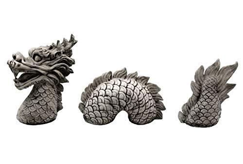 gartendekoparadies.de Riesige Steinfigur chinesischer Drachen 3-teilig aus Steinguss frostfest
