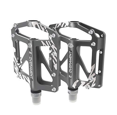 BMX Fahrrad Pedale Flat MTB, ultraleicht und rutschfest Aluminium - Mountainbike, Rennrad und Faltrad - Extra Tool für Pedale - Fahrradpedale zertifiziert, silber / schwarz
