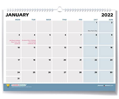 Elegant Style Wall Calendar 2021-2022 (15 Months: Oct '21 to Dec '22) | Month to View Format in 42x30 cm Size | Minimalist Design Deskpad Planner/Wall Calendar