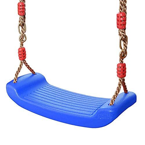 Kunststoff Schaukel Elastischer Schaukelbrett Gartenschaukel rutschfest Teenager Schaukelsitz Kinderschaukel mit Höhenverstellbar Seil Garten Outdoor Brettschaukel belastbar bis ca. 100Kg (Blau)