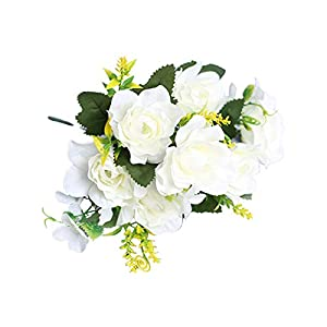 Artificial Flower for Party Home Decoration-1Pc Artificial Gardenia Decorative Lifelike Faux Silk Flower DIY Fake Floral Simulation for Home – White