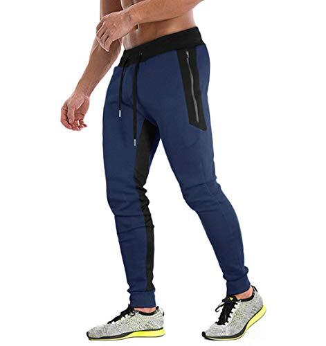 KEFITEVD Sport Hosen Herren Atmungsaktiv Sommer Lange Trainingshose mit Streifen Slim Fit mit Reißverschluss-Taschen Männer Leichte Yogahose Dunkelblau 32